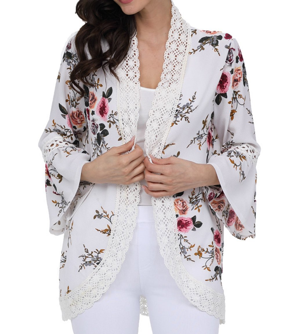 Floral Cardigan For Women Lace Patchwork Puff Sleeve Chiffon Kimono Blouse Summer, White, Medium
