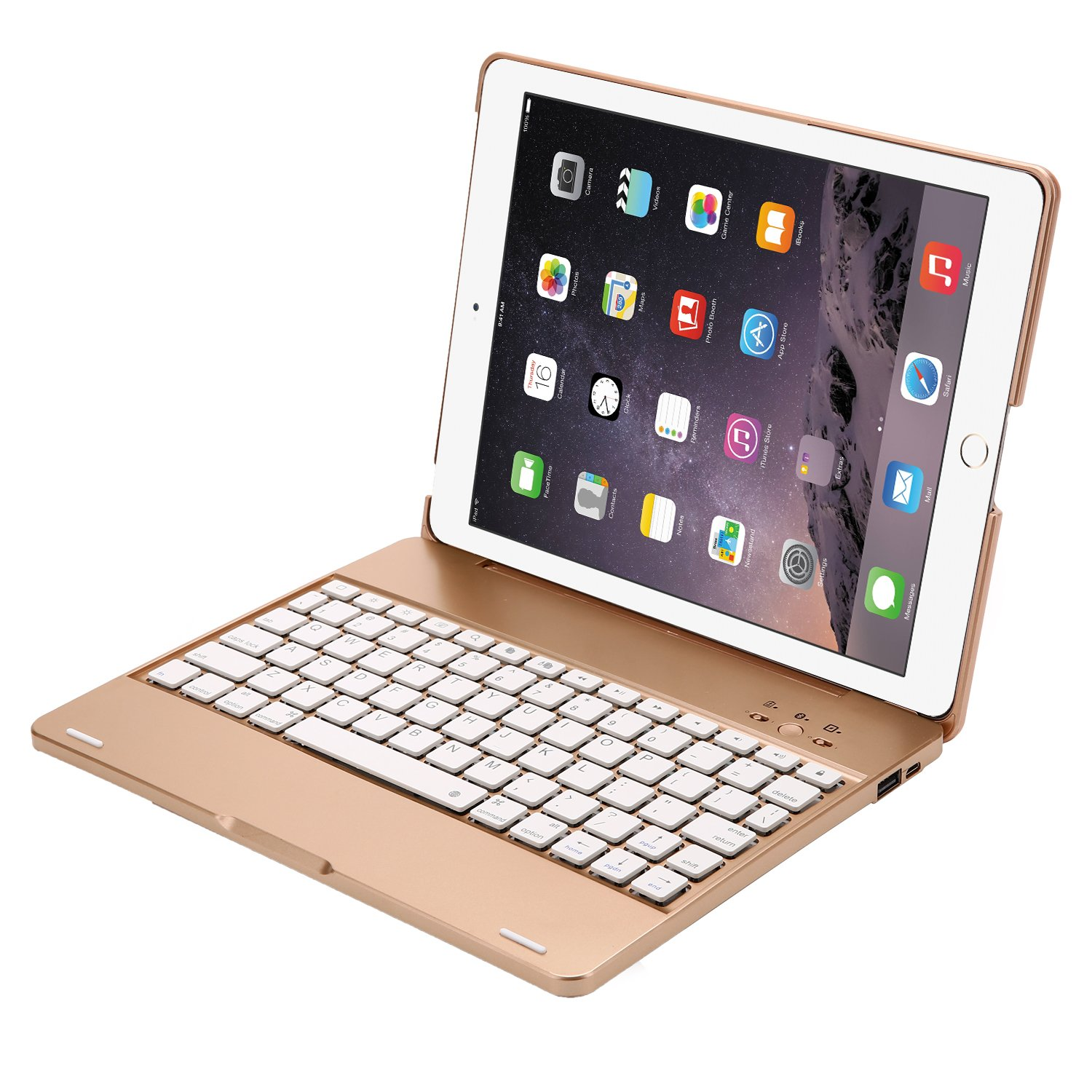 YOUNGFUN iPad 2,3,4 Keyboard Case,Premium Portable Durable ABS Material Wireless Bluetooth Keyboard Case Cover with Built-in Rechargeable 2800mAh Powerbank for Apple iPad 2,3,4 - Gold