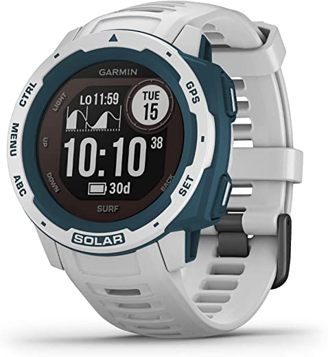 Garmin Instinct Solar Surf, Solar-Powered Rugged Outdoor Smartwatch with Tide Data and Dedicated Surfing Activity, Cloudbreak