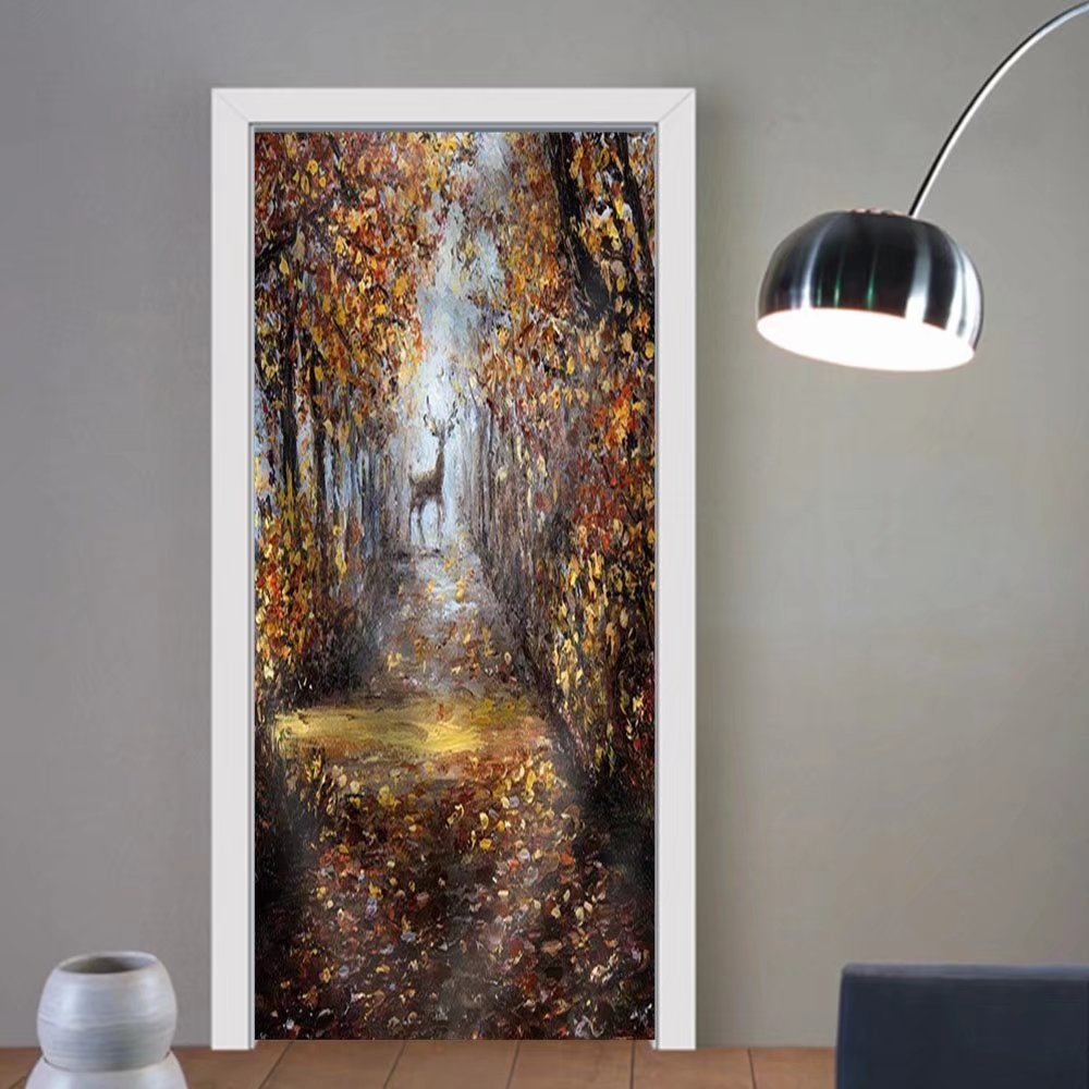 Gzhihine custom made 3d door stickers .Deer at the End of Path.Modern Impressionism ModernismMarinism Fabric Home Decor For Room Decor 30x79
