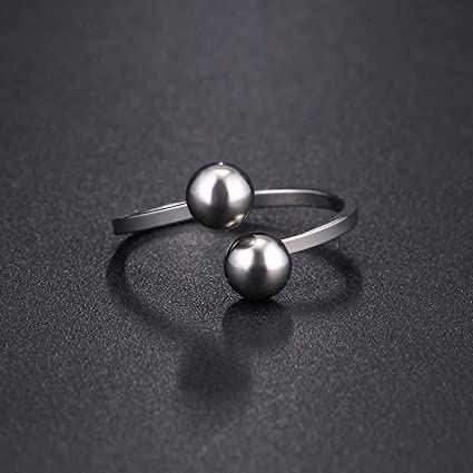 JEWH Titanium Stainless Steel Rings for Women - Double Ball Engagement Fashion Jewelry Rings - Trendy