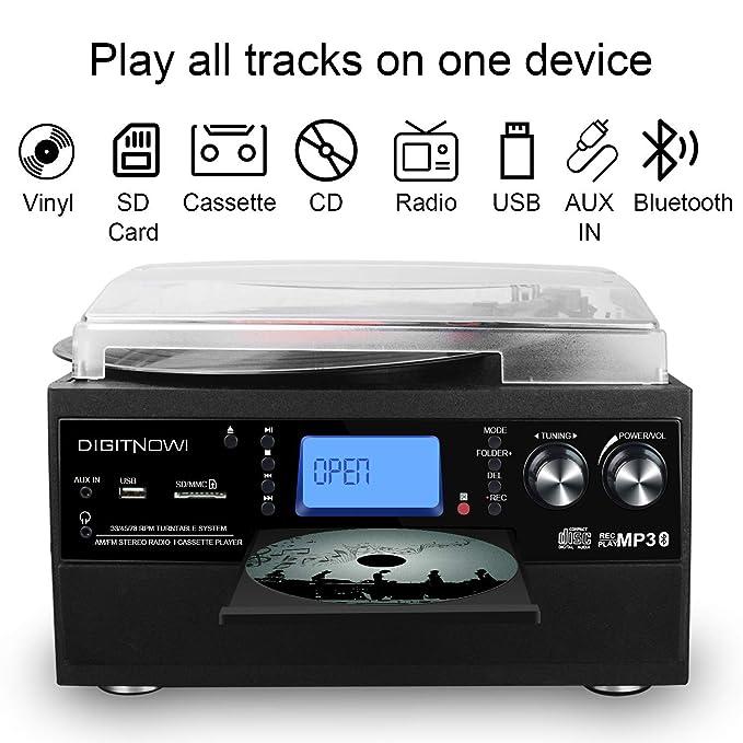 Tocadiscos Bluetooth Plato Giradiscos Vinilo,CD,Cassette,Encoding,USB,SD,MMC,AM/FM,3 velocidades,33/45/78 RPM con Altavoces Incorporados