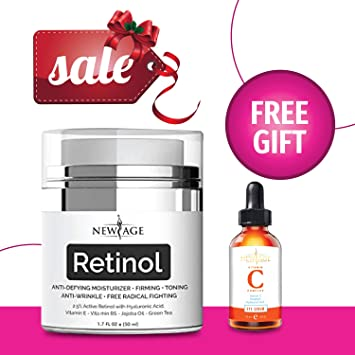 New Age 2.5% Retinol Moisturizer for Face with Free Gift Vitamin C Eye Serum Hyaluronic