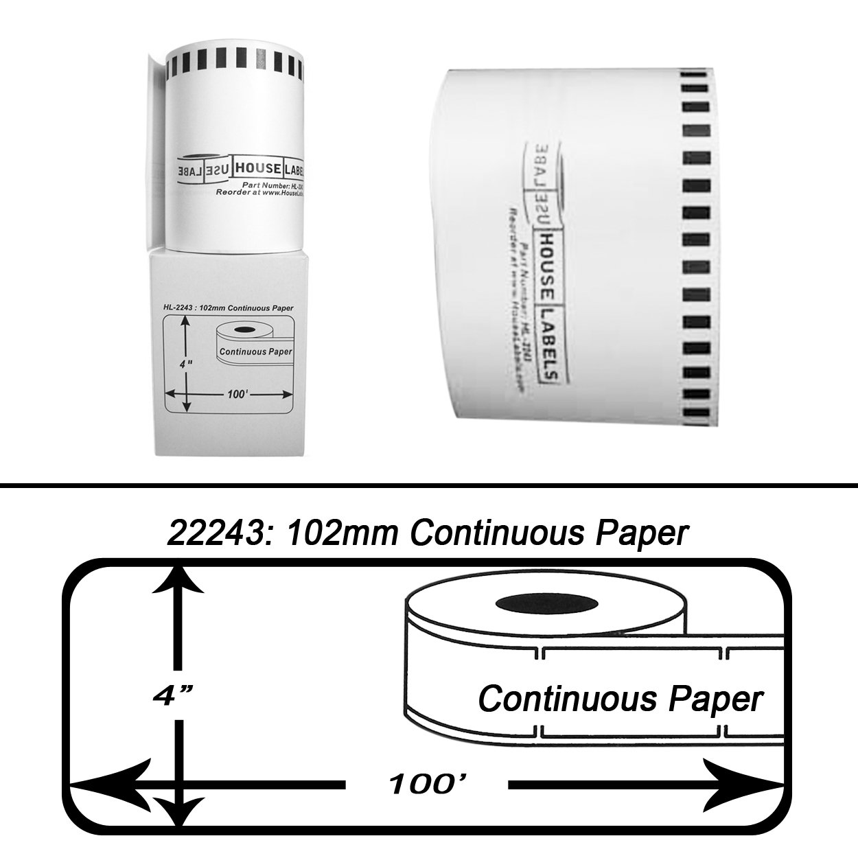 15 Rolls; Continuous Paper, HouseLabels Compatible with Brother DK-2243 Continuous Paper Labels (4'' x 100'; 102mm30.48m) - BPA Free! by HouseLabels