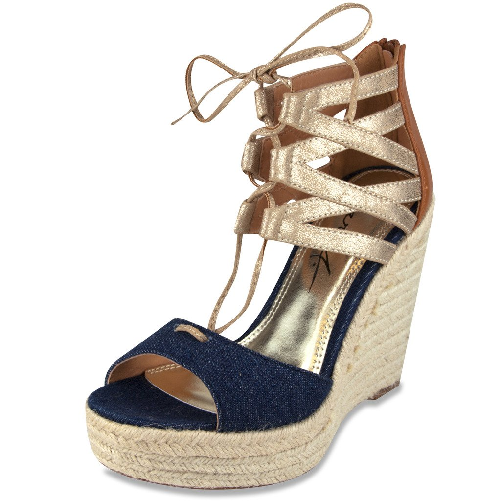 Mari A Womens Evie Wedge Lace Up Sandal Denim & Gold 7 B(M) Us 6