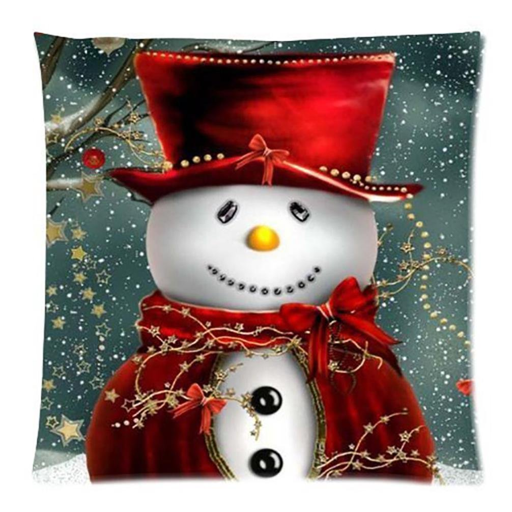 Deloito Merry Christmas Pillow Cases Cotton Linen Sofa Home Decor Cushion Cover (A, L)