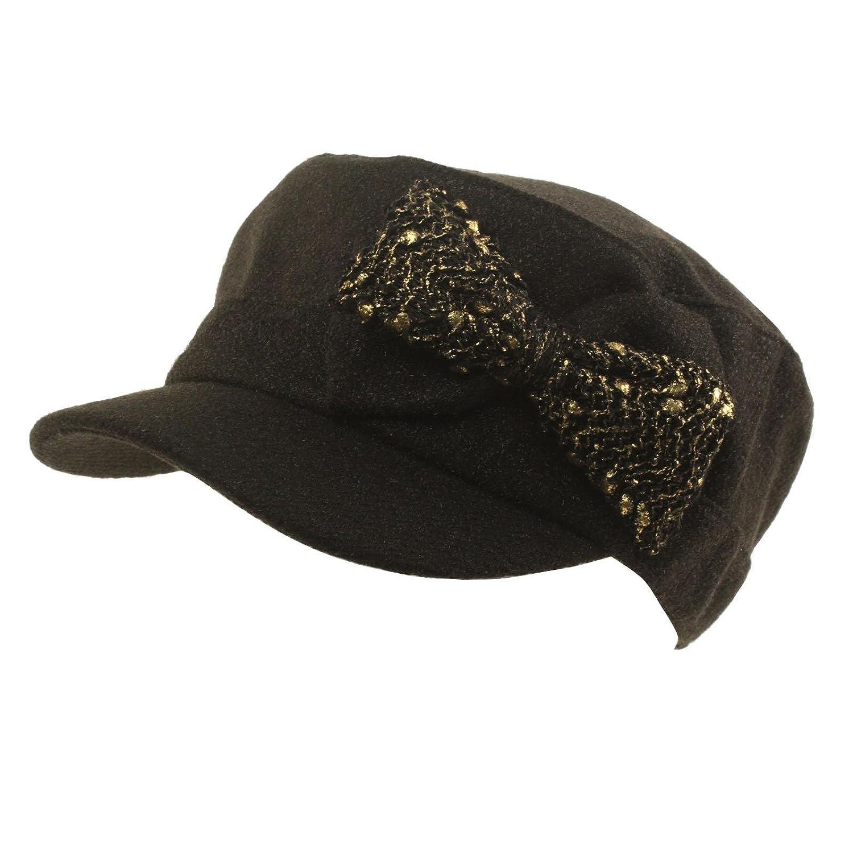 Ladies Winter Lurex Gold Ribbon Bow Cadet Castro Cabbie Driver Cap Hat
