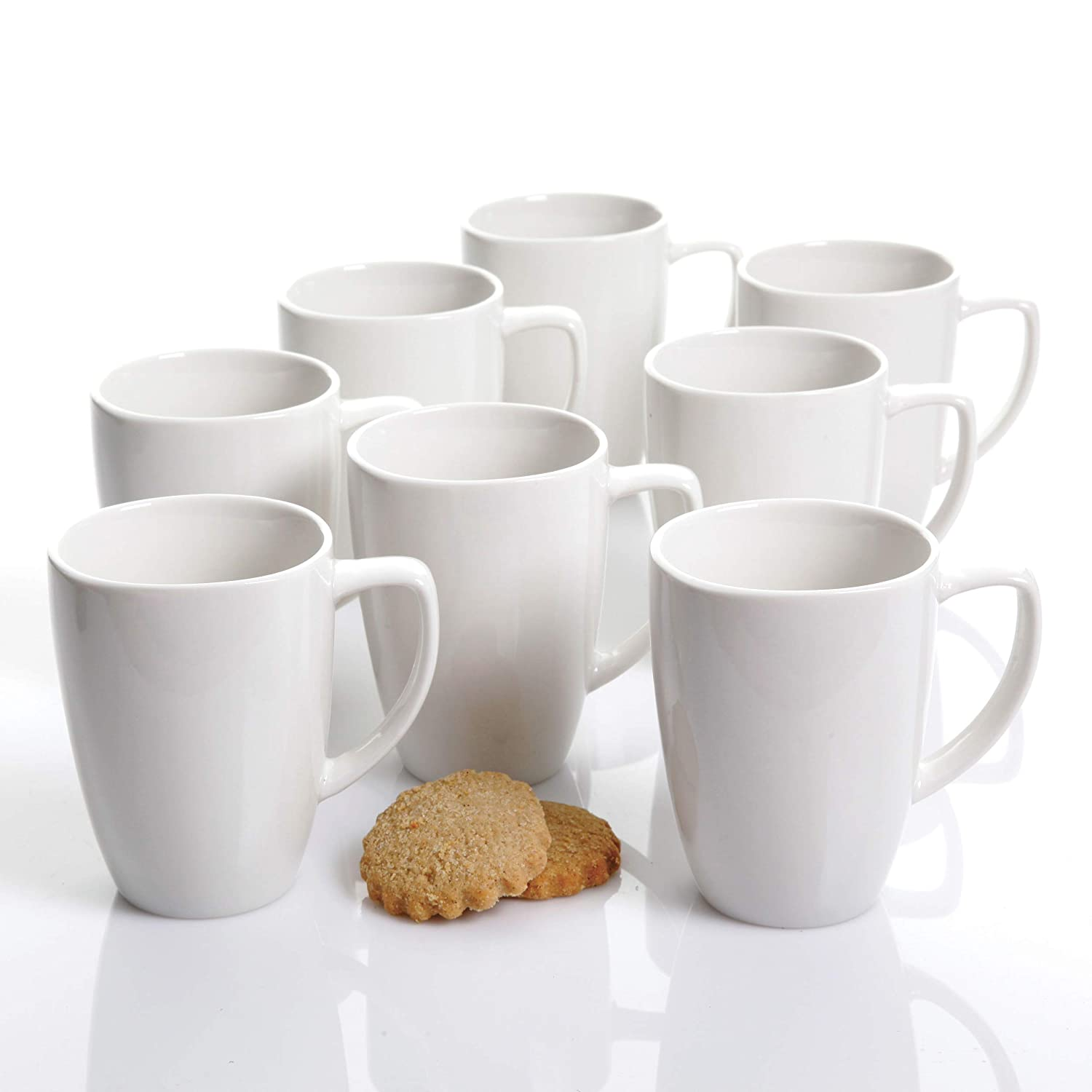 Coffee Cup Set by GIBSON Coffee Mug Set Stoneware Coffee Cups Fine Ceramic Whiteware 8 pc set, NEW ITEM
