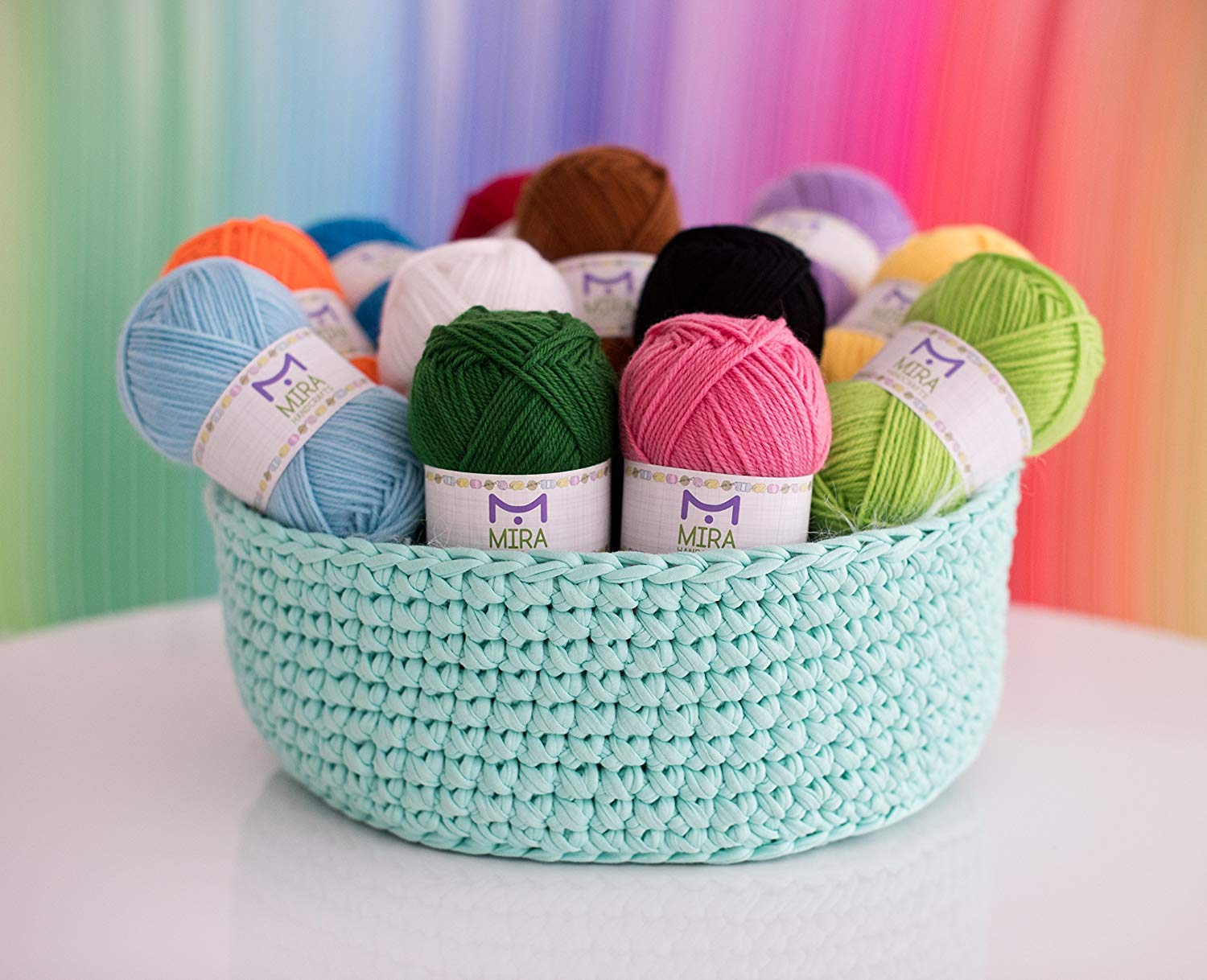 Mira Handcrafts Acrylic 1.76 Ounce(50g) Each Large Yarn Skeins - 12 Multicolor Knitting and Crochet Yarn Bulk - Starter Kit for Colorful Craft - 7 Ebooks with Yarn Patterns by Mira HandCrafts (Image #6)