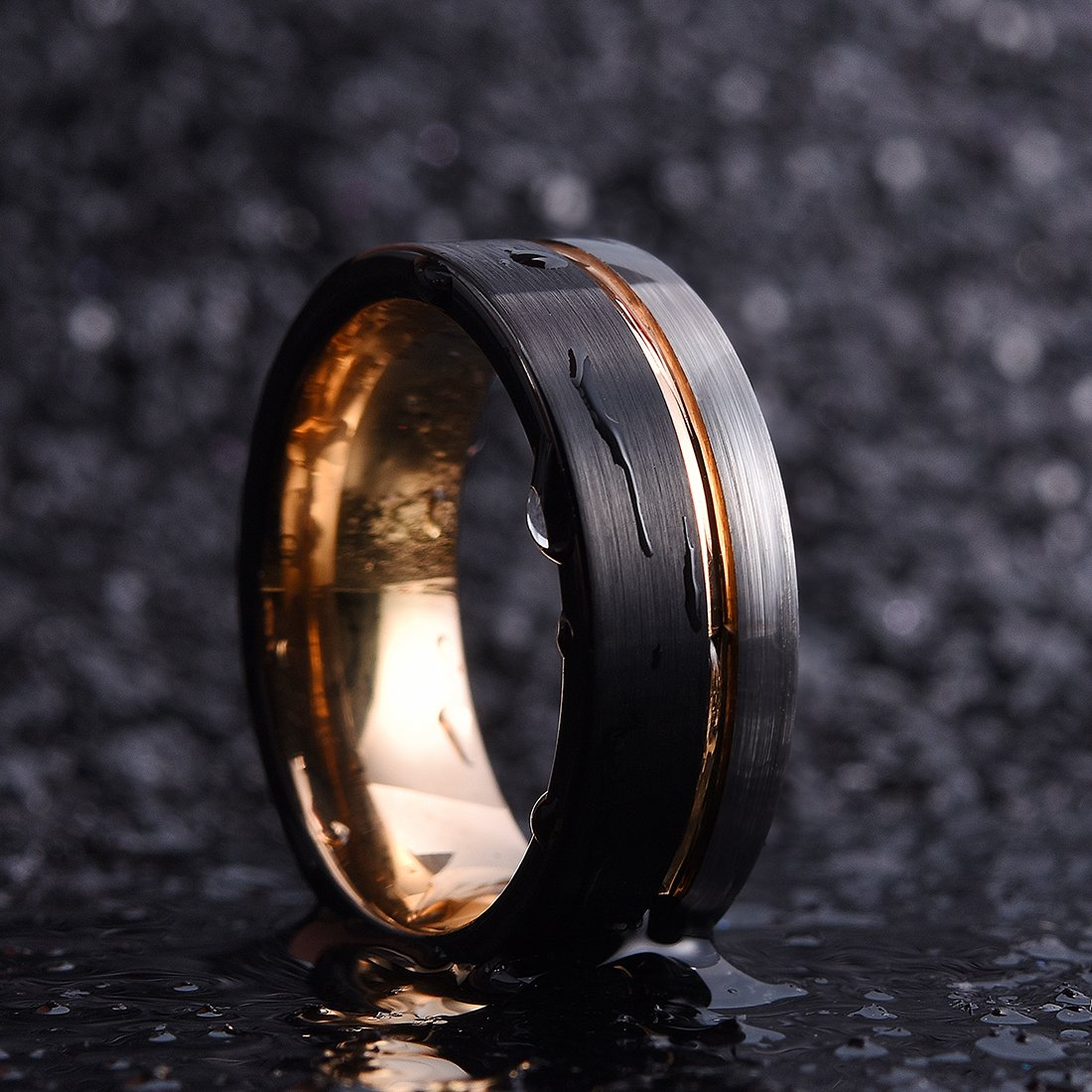 King Will Loop Tungsten Carbide Wedding Band 8mm Rose Gold Line Ring Black and Silver Brushed Comfort Fit10.5 by King Will (Image #3)
