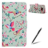 Samsung Galaxy S6 case - Feeltech Elegant Luxury Flip PU Leather Slim Wallet Card Magnetic Closure Lanyard Wallet Protective Case Cover With [Free Black 2 in 1 Stylus] Shockproof Card Slots Holder Money Pouch Stand Function Book Design for Samsung Galaxy S6 - Colorful Bird