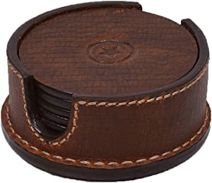 Leather Coasters for Drinks Set of 6 with Holder-Protect Your Furniture from Stains,Coffee