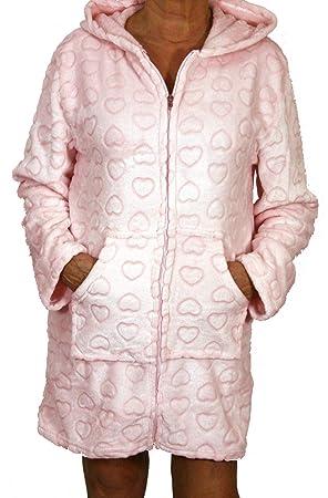 Montse Interiors Bata o Albornoz Mujer Coralina Tacto Seda o Visón Homewear con Capucha (Bata Heart Rosa, L): Amazon.es: Hogar