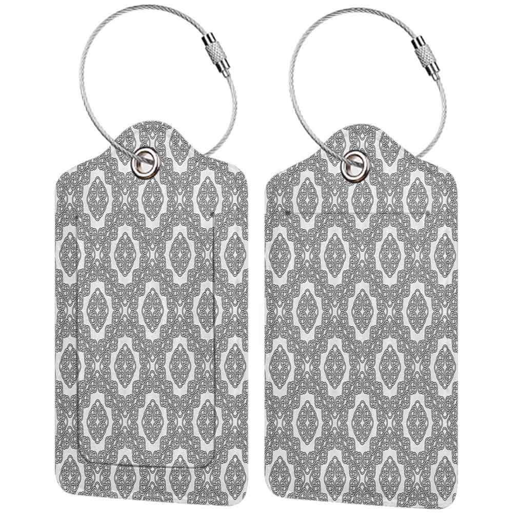 Small luggage tag Celtic Vintage Geometric Diagonal Symmetrical Binding Celtic Knots Motifs Illustration Quickly find the suitcase Black White W2.7 x L4.6