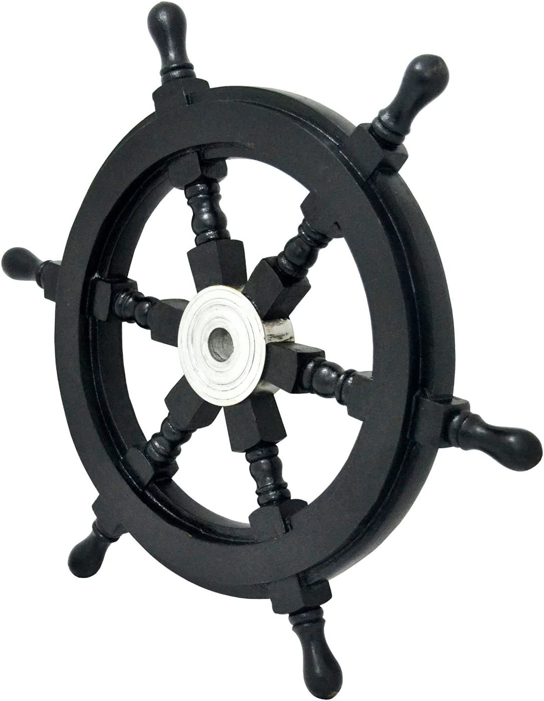 "historicalmuseumstore Ship Wheel Wooden 24"" D Black ~ Boat ~ Pirate ~ Nautical Decor ~ Home Decor"