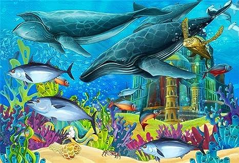 EdCott 9x6ft Cartoon Under The Sea Shark Backdrop Baby ...