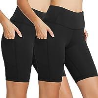 "Baleaf Women's 8"" High Waist Tummy Control Workout Yoga Shorts Side Pockets"