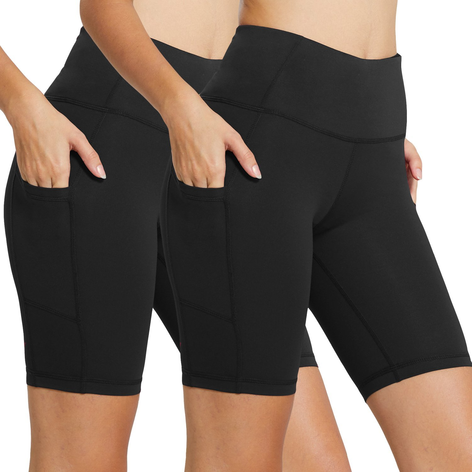 BALEAF Women's 8'' High Waist Tummy Control Workout Yoga Shorts Side Pockets 2-Pack Black/Black Size XS