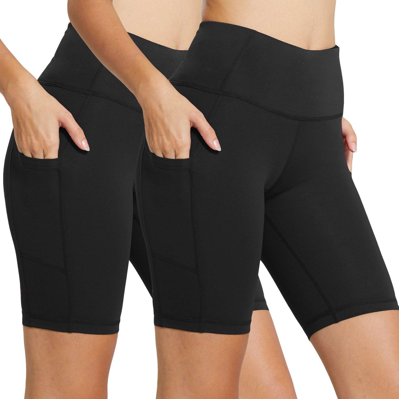 Baleaf Women's 8'' High Waist Tummy Control Workout Yoga Shorts Side Pockets 2-Pack Black/Black Size XS