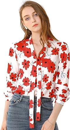 Allegra K Camisa Casual Top Floral Corbata De Lazo Cuello V ...