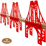 OrgMemory Train Bridge, 3 Suspension Bridge, Wooden Train Bridge, Train Tracks Compatible with All Major Brands