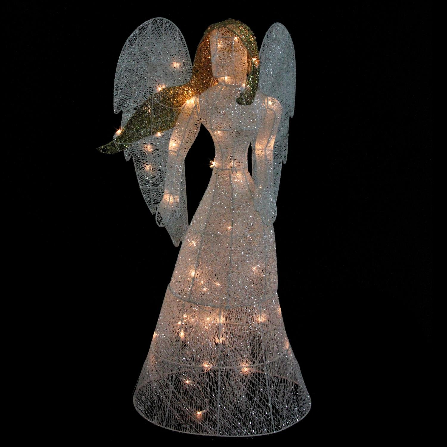 48'' LED Lighted White Glitter Angel Christmas Yard Art Decoration - Warm White Lights by Northlight