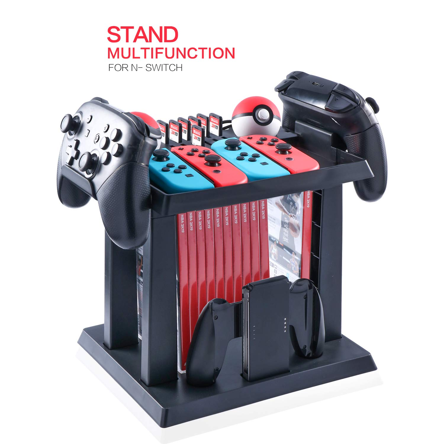 Storage Rack for Nintendo Switch Console Bundle, Storage Station Holder for Nintendo Switch Accessories and 2 Poke Ball Plus Controllers by HEATFUN