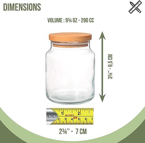 9 /¾ oz Vidrio Alto de Borosilicato Herm/ético Almacenamiento de Alimentos Envase Frasco Tarro con Tapa de Madera 290ML Herm/ético
