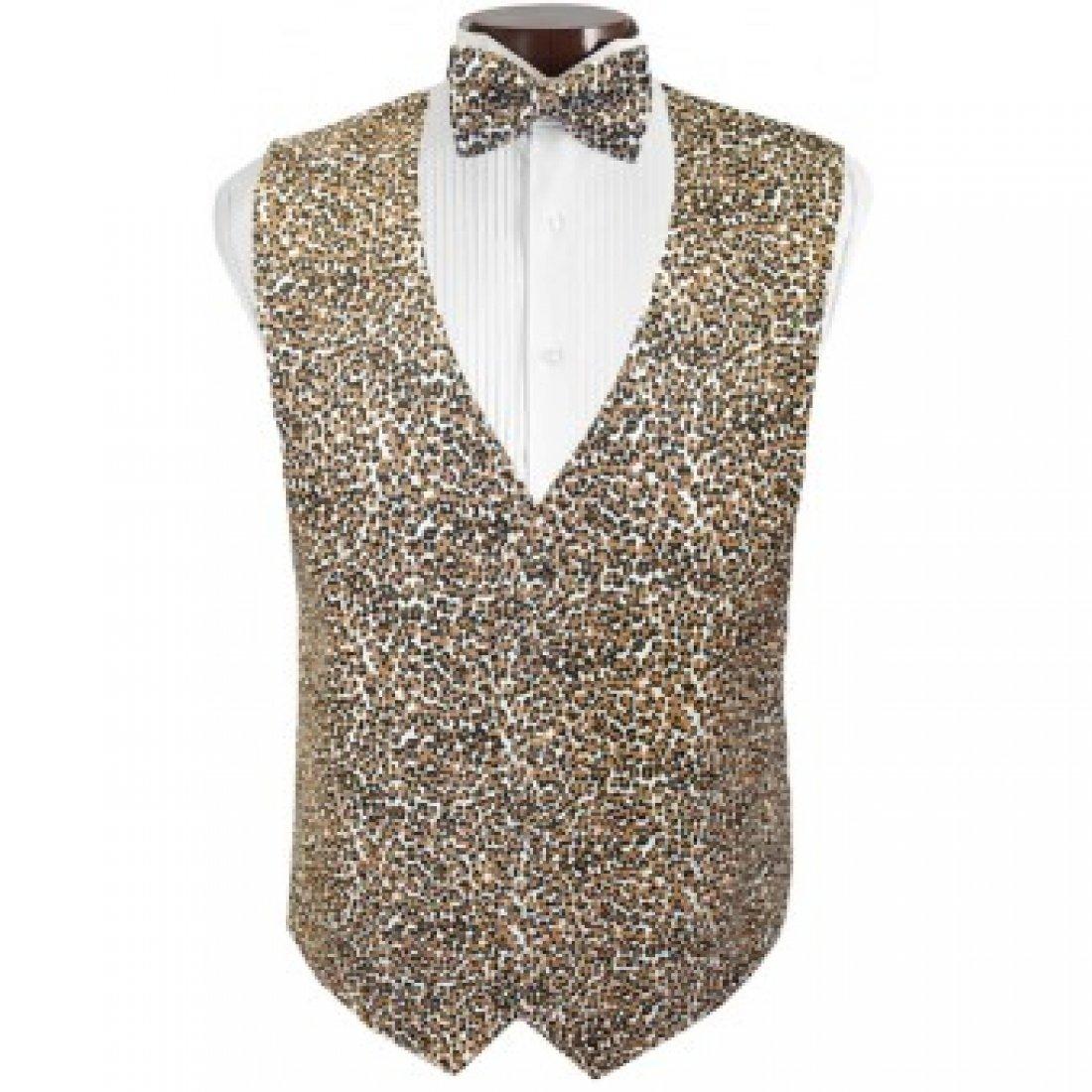 Cheetah Tuxedo Vest and Bow Tie