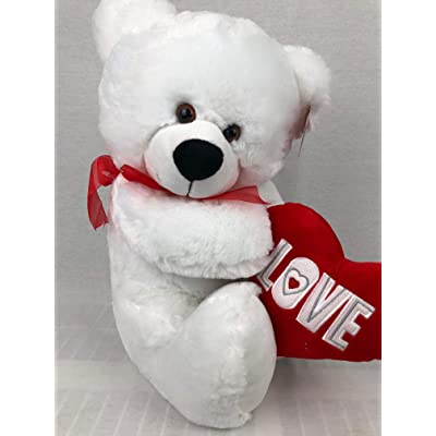 "19"" Love Bear, Super Soft White Bear Holding Heart Petting Zoo Love: Toys & Games"