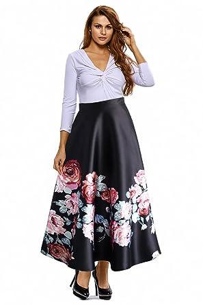 Lovezesent Women's High Waist Dress Color Block A Line Maxi Long ...