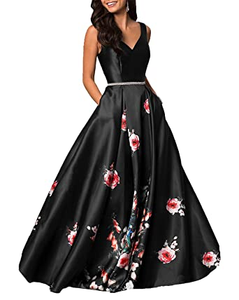 LY Dress V-Neck Floral Printed Prom Dresses Long 2018 Evening Formal Gowns with Pockets