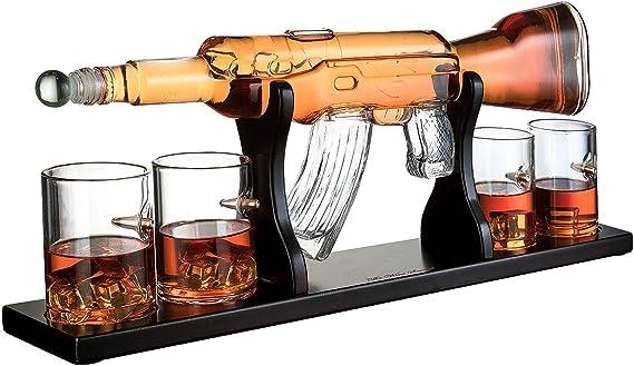 Gun Large Decanter Set Bullet Glasses - Limited Edition Elegant Rifle Gun Whiskey Decanter 22.5