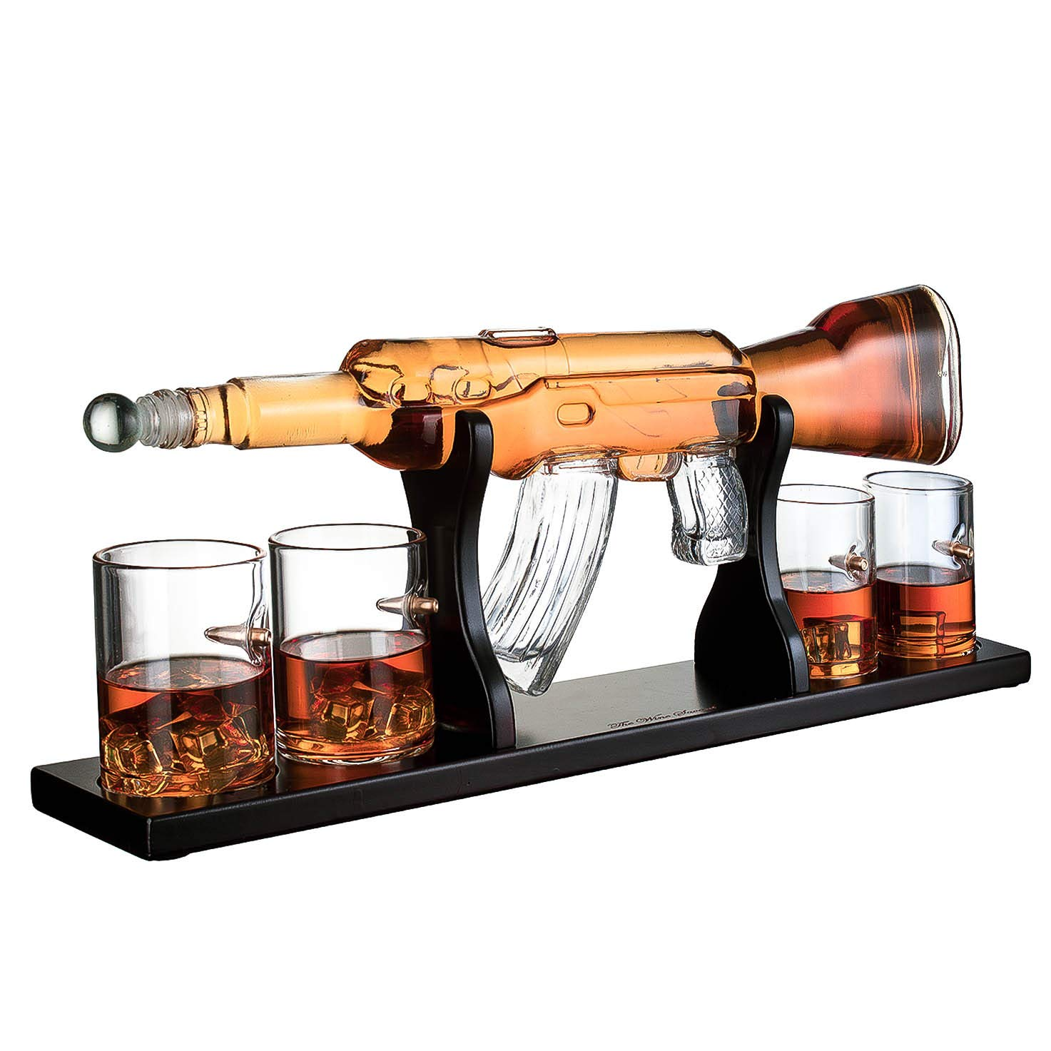 Gun Large Decanter Set Bullet Glasses - Elegant Rifle Gun Whiskey Decanter 22.5'' 1000ml With 4 Bullet Whiskey Glasses and Mohogany Wooden Base By The Wine Savant
