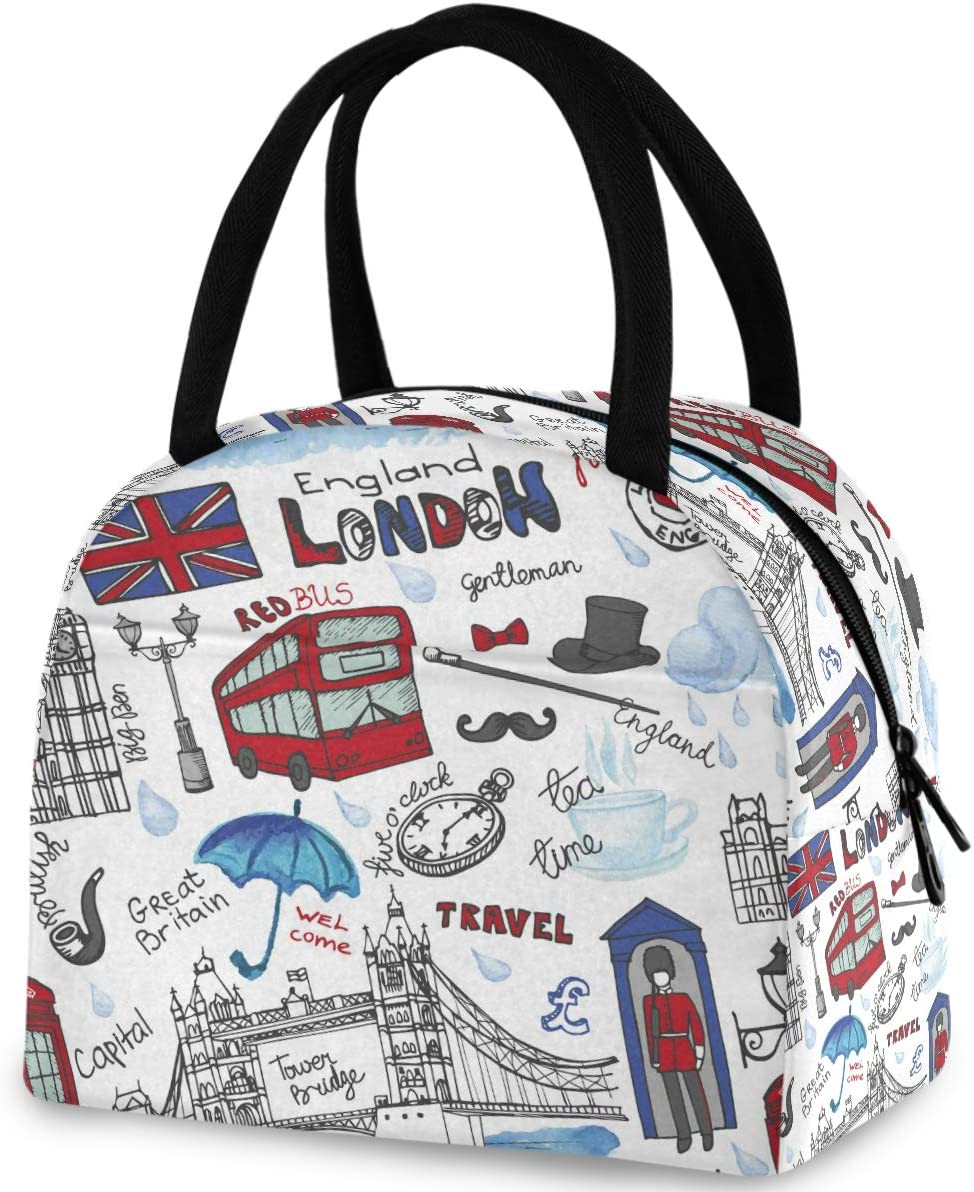 ZzWwR England London Landmark Symbols Lettering Pattern Reusable Lunch Tote Bag with Front Pocket Zipper Closure Insulated Thermal Cooler Container Bag for Work Picnic Travel Beach Fishing