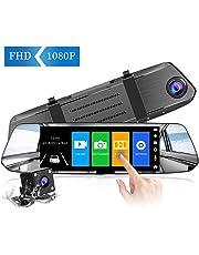 【2019 Nuova Versione】CHORTAU Telecamera per Auto da 7 pollici Touchscreen Full HD 1080P, Telecamera Grandangolare Anteriore e Telecamera Posteriore impermeabile, con Sistema di Monitoraggio Inverso