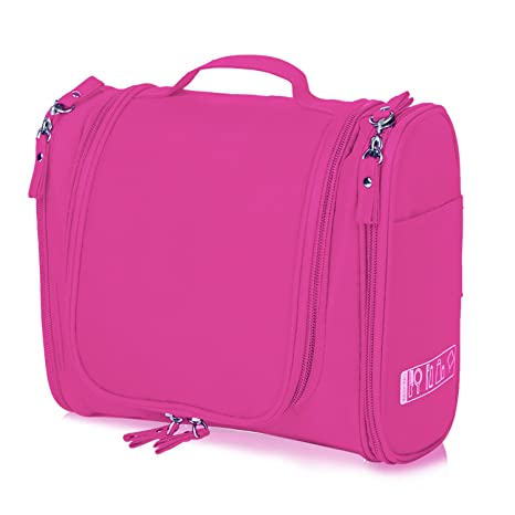 2ab1bcfa94 Amazon.com  Hanging Toiletry Bag Travel Cosmetic Kit - Large Essentials  Organizer - Sturdy Hook Makeup bag - Heavy Duty Waterproof for Men and  Womens (Rose ...