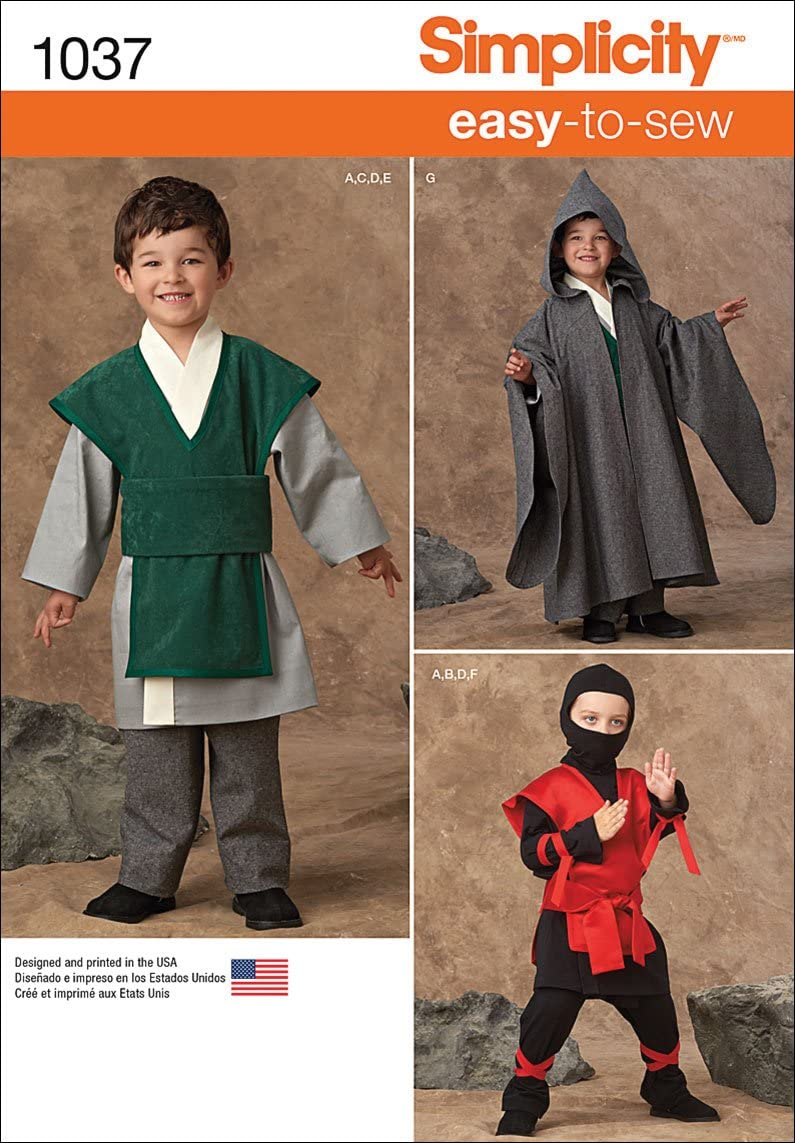 Sizes 3-8 Simplicity Easy To Sew Ninja and Wizard Kids Halloween Costume Sewing Pattern