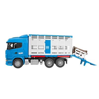 Bruder Scania R-Series Cattle Transportation Truck with 1 Cattle Vehicles - Toys: Toys & Games