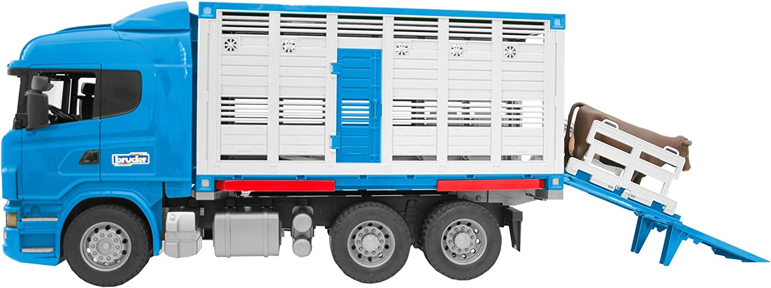 Bruder Scania R-Series Cattle Transportation Truck with 1 Cattle Vehicles - Toys