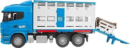 Bruder 03549 – Camión bétaillère Scania r-série con 1 Animal – Azul
