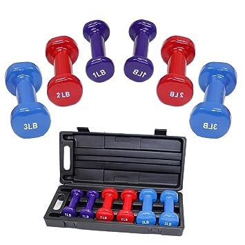 Ladies mancuernas para entrenamiento de fitness gimnasio en casa Crossfit, Pilates cuerpo tonificación con caja de transporte Yoga: Amazon.es: Deportes y ...