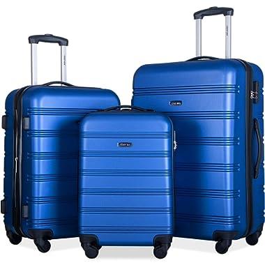 Merax Travelhouse Luggage Set 3 Piece Expandable Spinner Suitcase Blue