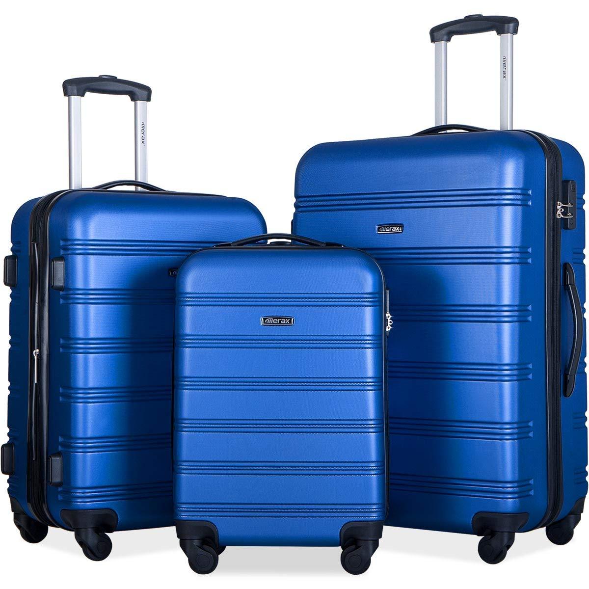 Merax 3 Pcs Luggage Set Expandable Hardside Lightweight Spinner Suitcase (Royal Blue)