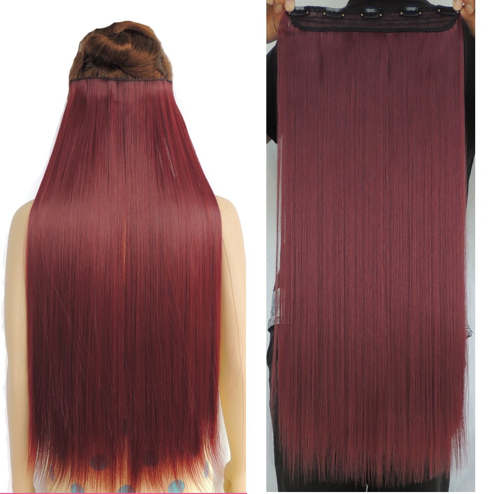28 Synthetic Straight Hairpiece Hair Extensions 3/4 Full Head 5 Clips (Straight-28 inch-120g, Wine Red) Wonderful WJZ12070