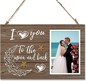 LHIUEM Romantic Couples Wooden Picture Frame For 4x6 Inches Photo, Birthday Gifts For Boyfriend/Girlfriend With String Moon Stars Wall Decor-I Love You To The Moon And Back -20 x 30cm