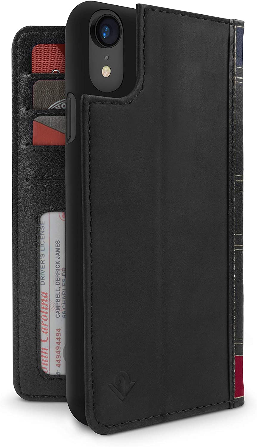 Twelve South BookBook for iPhone XR | 3-in-1 Leather Wallet case, Display Stand and Removable Shell (Black)