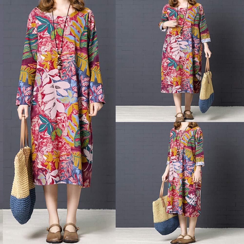Bandage Dress,Women Autumn Casual Plus-Size Long Sleeve Cotton Linen Printed Loose Dress,Socks & Hosiery,Multicolor,M