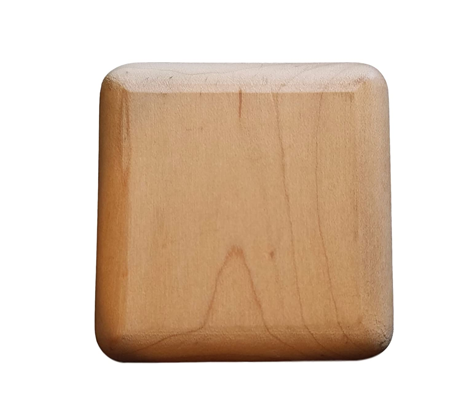 """(Set of Eight) Unfinished Maple Wood Square Drawer Dresser Cabinet Knobs Pulls w/ Brass Insert 2"""" x 2"""""""