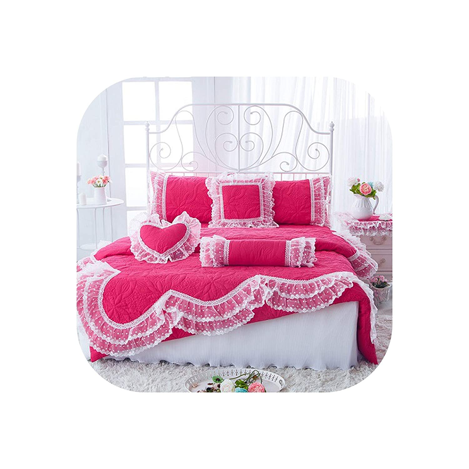 YY Cherry 100% Cotton Thick Quilted Lace Bedding Set King Queen Twin Size Bed Set Princess Korean Girls White Pink Bed Skirt Set Pillowcase,Rose Bed Set,Queen B 4Pcs